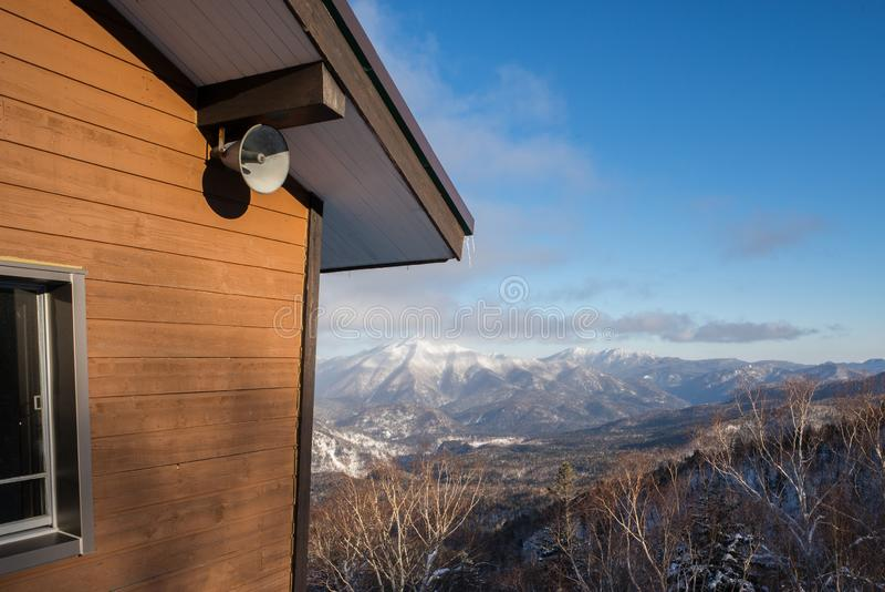 Zima lasu krajobrazu widok od góry Kurodake obraz stock