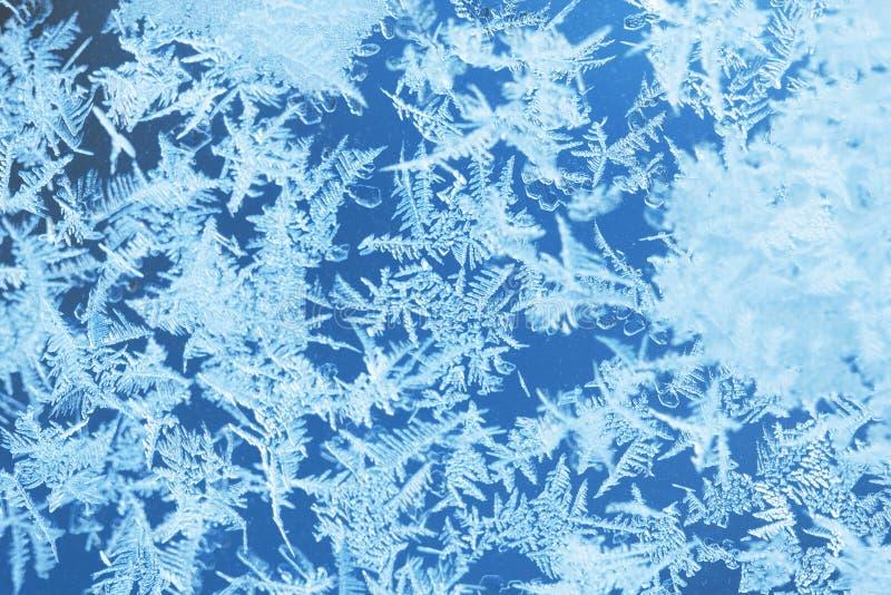 Zima lodu mróz, marznący tło frosted nadokiennego szkła textur fotografia stock