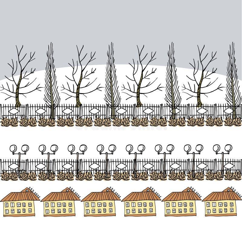 Zima lub wczesny wiosny tło z drzewami, lampionami i domem, zdjęcia stock