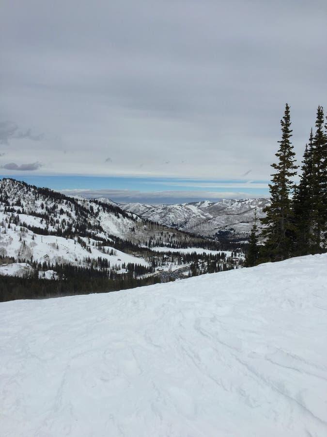 Zima majestatyczni widoki wokoło Wasatch Frontowych Skalistych gór, Brighton ośrodek narciarski blisko do Salt Lake i Heber dolin fotografia stock