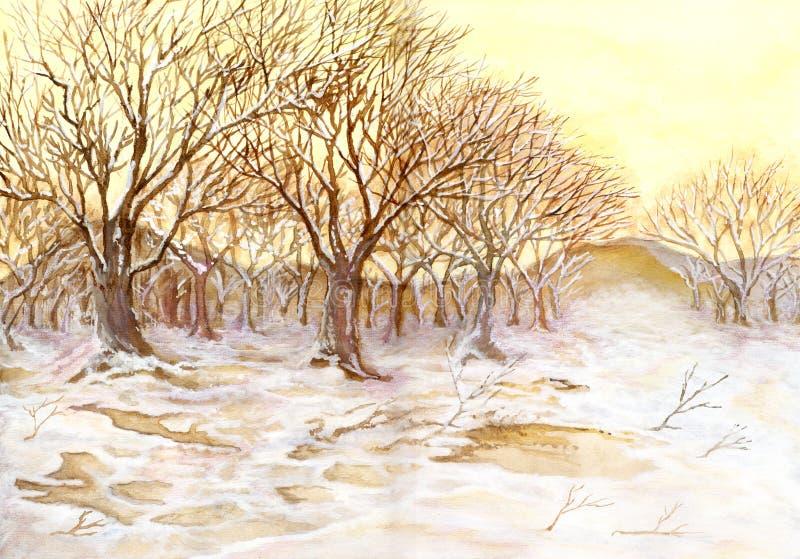zima malujący drewno ilustracja wektor