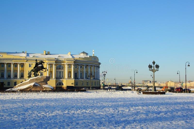 Zima mroźny ranek na Senackim kwadracie zdjęcia royalty free