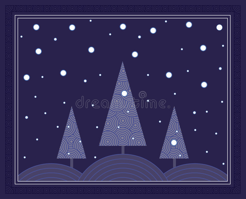 zima nocy sceny ilustracja wektor