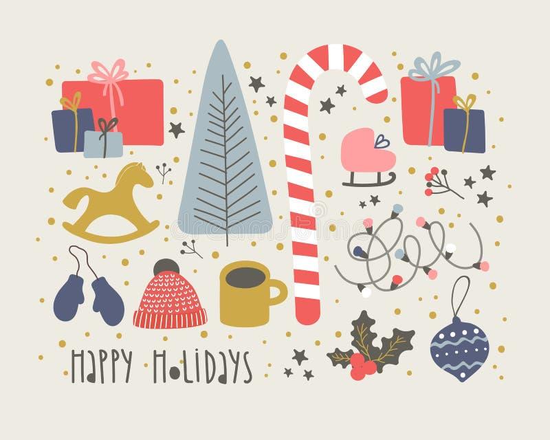 Zima, Nowego year& wektoru Bożenarodzeniowy set również zwrócić corel ilustracji wektora zdjęcia stock