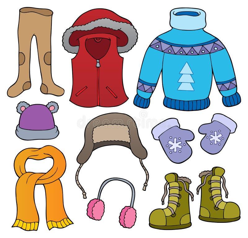 Zima odzieżowy temat ustawia 2 royalty ilustracja