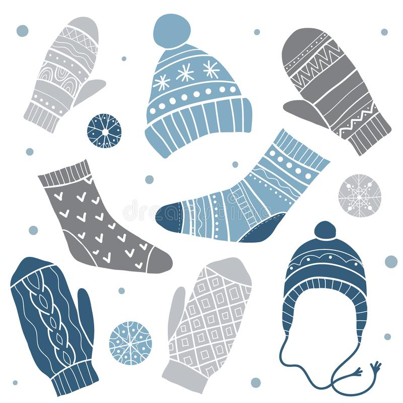Zima odziewa kreskówki serc biegunowy setu wektor royalty ilustracja