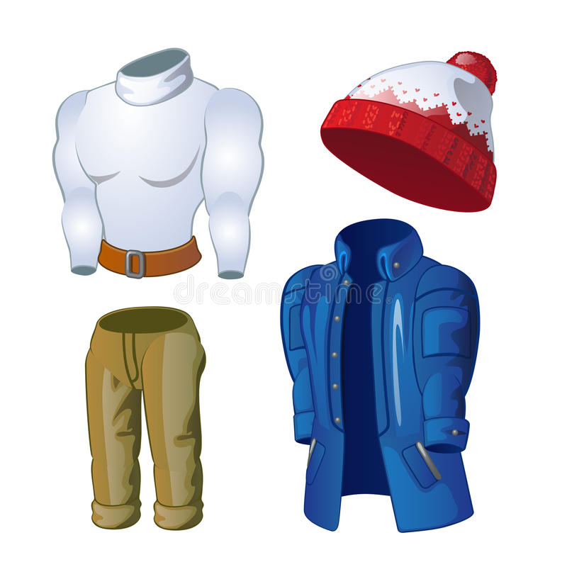 Zima odziewa, kurtka, kapelusz, pulower i spodnia, ilustracja wektor