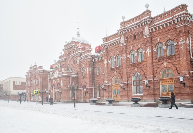 Zima, opad śniegu w Kazan obrazy stock