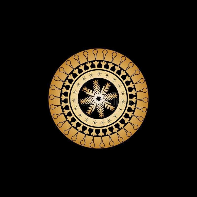 Zima ornament od okregów i wzorów w postaci rogów z lody, ptaków ochraniaczami, asteryskami i dużym złocistym płatek śniegu, wewn ilustracji
