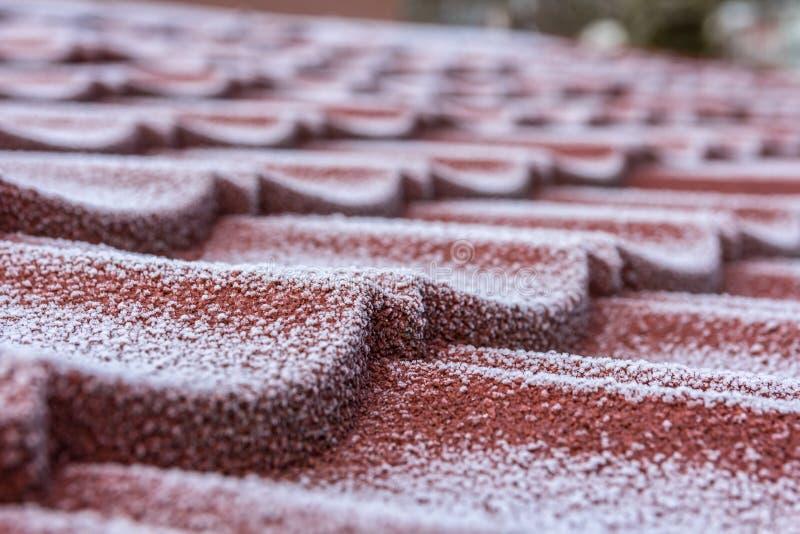 Zima oszroniejąca na dachowych płytkach po nagłego oziębienia zdjęcie royalty free