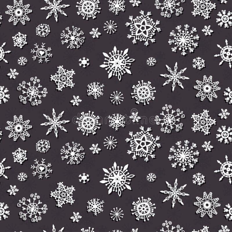 Zima płatków Doodles Śnieżny wzór Xmas wystrój royalty ilustracja