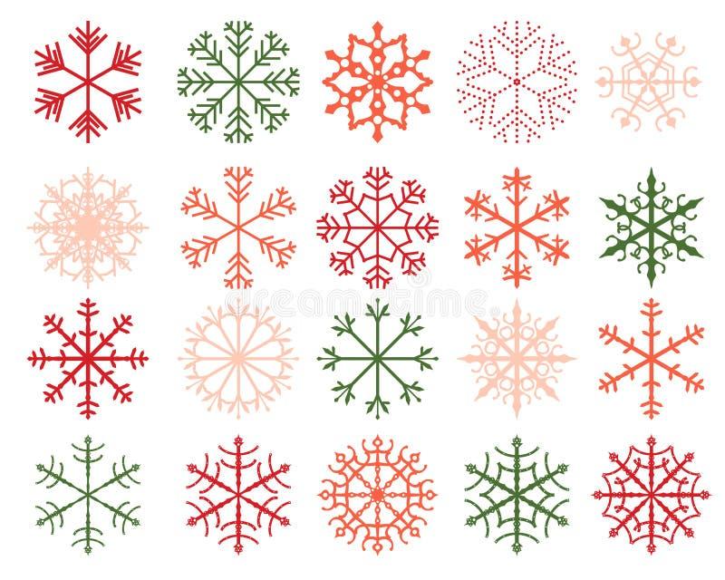 Zima płatka śniegu projekty w zieleni i czerwieni ilustracja wektor