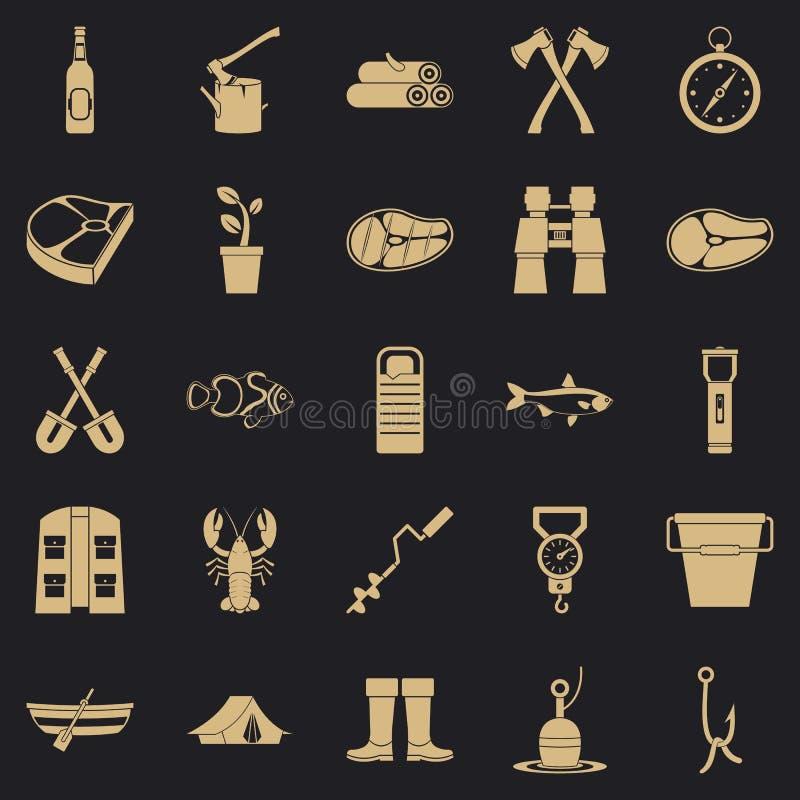 Zima połowu ikony ustawiać, prosty styl royalty ilustracja
