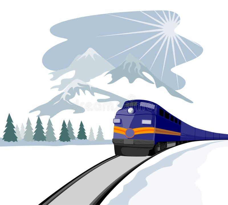 zima podróżna pociągu ilustracji