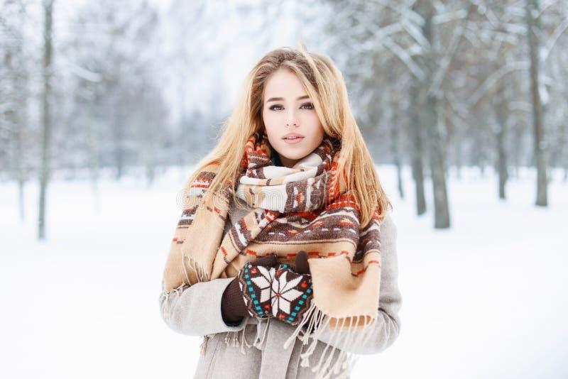 Zima portret piękna młoda kobieta z szalikiem blisko śnieżnego obrazy royalty free