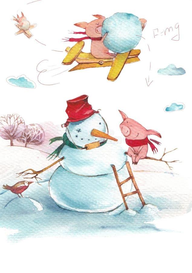 Zima prosiaczka zabawa royalty ilustracja