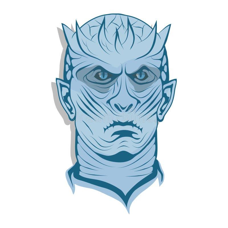 Zima przychodzi, błękitna twarz, lodowy królewiątko ilustracja wektor