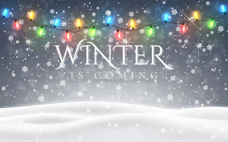 Zima przychodzi Boże Narodzenia, śnieżny noc lasu krajobraz z spada śniegiem, jodły, lekka girlanda, płatek śniegu dla zimy i now royalty ilustracja