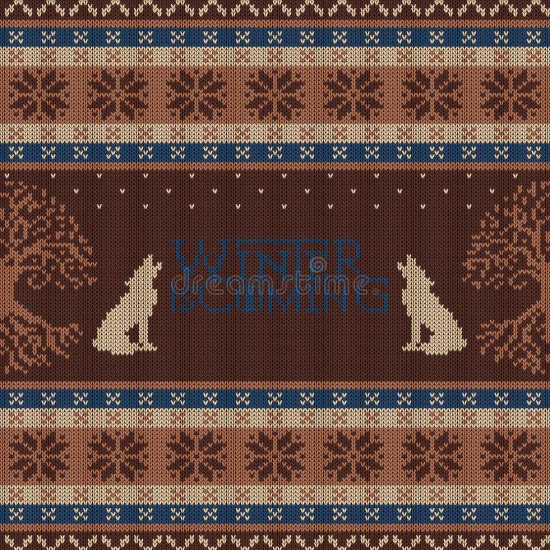 Zima przychodzi Weirwood drzewny i wy wilki Trykotowy woolen bezszwowy wzór royalty ilustracja