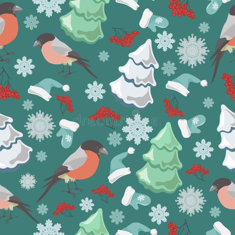 Zima ptaków błękita wzór ilustracja wektor