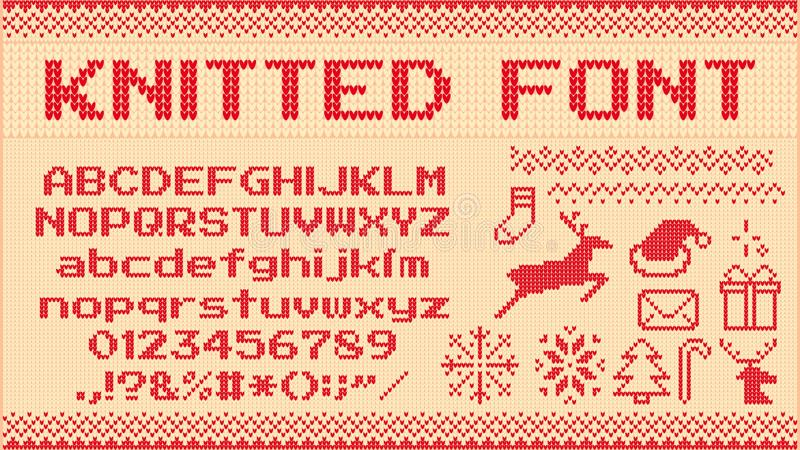 Zima puloweru chrzcielnica Trykotowi boże narodzenie pulowerów listy, dzianiny bluzy xmas pulower, deseniowy i brzydki dziają wek ilustracji