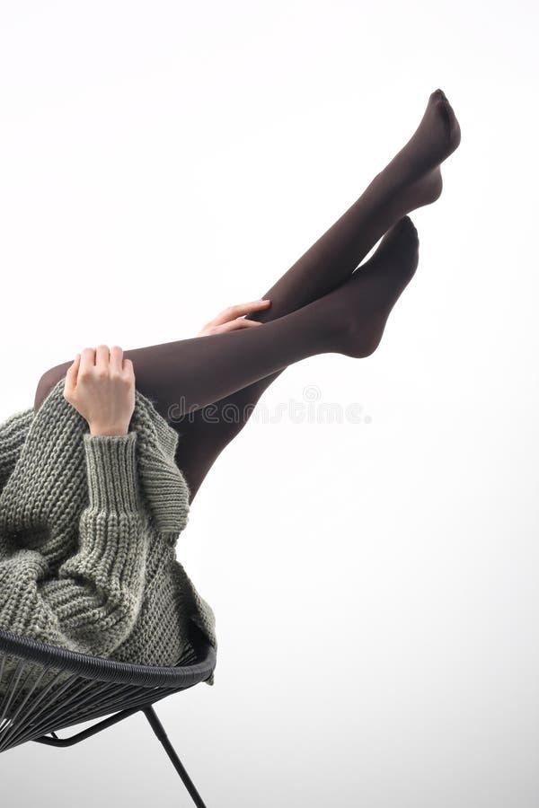 Zima rajstopy Nogi kobieta w pantyhose obraz stock