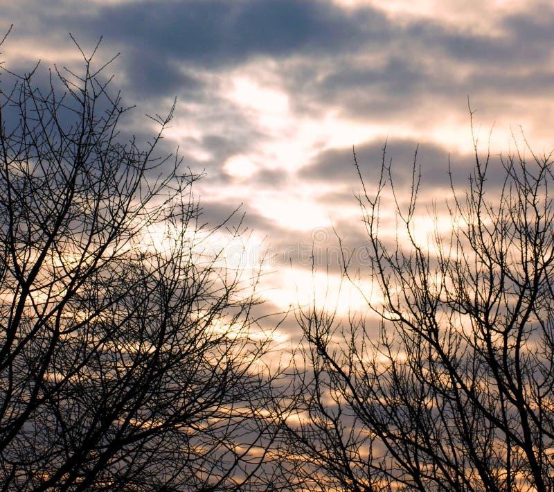 Zima ranek Słońce jest trudny łamać przez Luty chmur fotografia stock