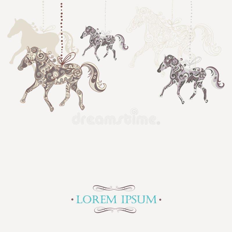 Zima rocznika tło z ornamentacyjnymi koniami ilustracja wektor