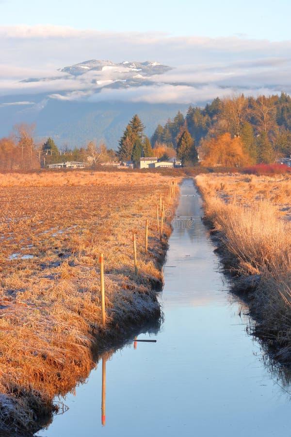 Zima Rolniczy Irygacyjny kanał fotografia royalty free