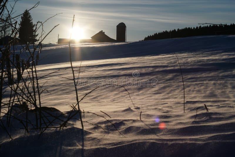 Zima rolny zmierzch obrazy royalty free