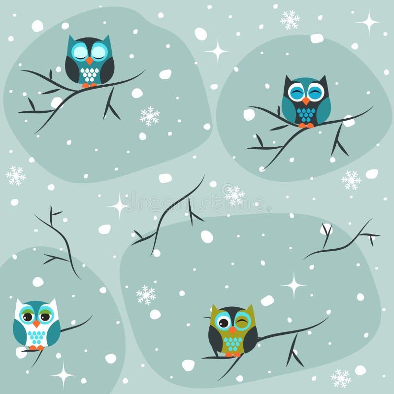 Zima, sów ikony, bezszwowy paterrn ilustracji