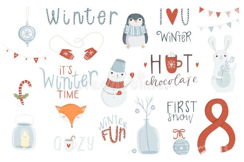 Zima set, ręka rysujący styl royalty ilustracja