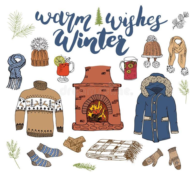 Zima sezonu doodle ustaleni elementy Ręka rysująca nakreślenie kolekcja z grabą, szkło gorący wino, inicjuje, ubrania, ciepła koc ilustracji