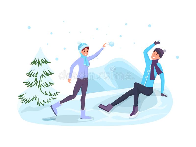 Zima sezonu gier płaska wektorowa ilustracja royalty ilustracja