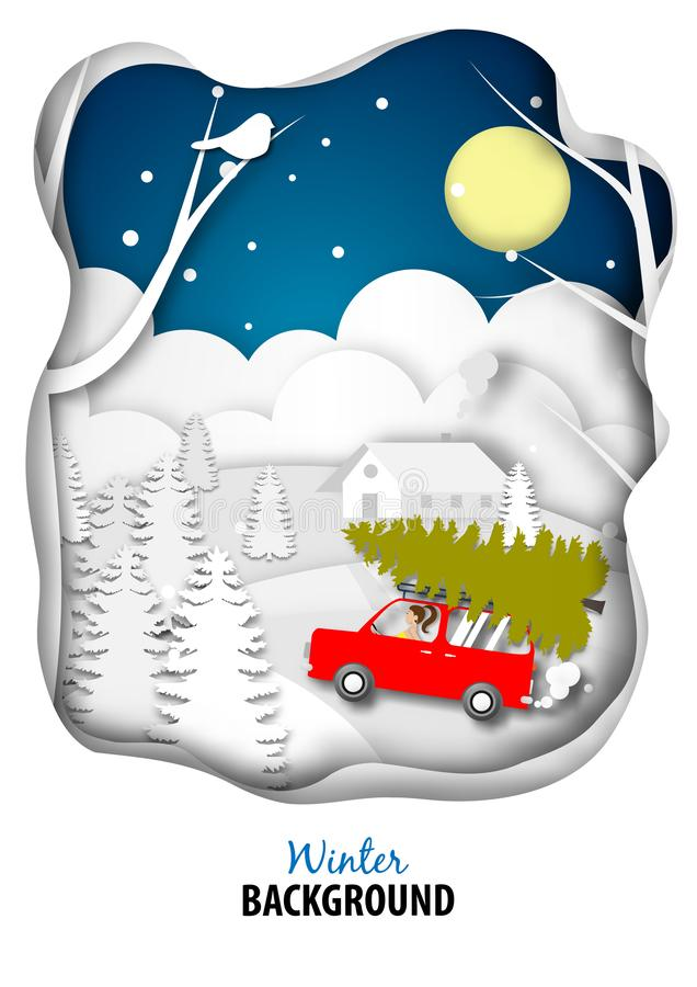 Zima sezonu tło z Czerwienią Samochód dostawczy Samochód i choinki papierowa sztuka projektujemy wektor i ilustrację ilustracji