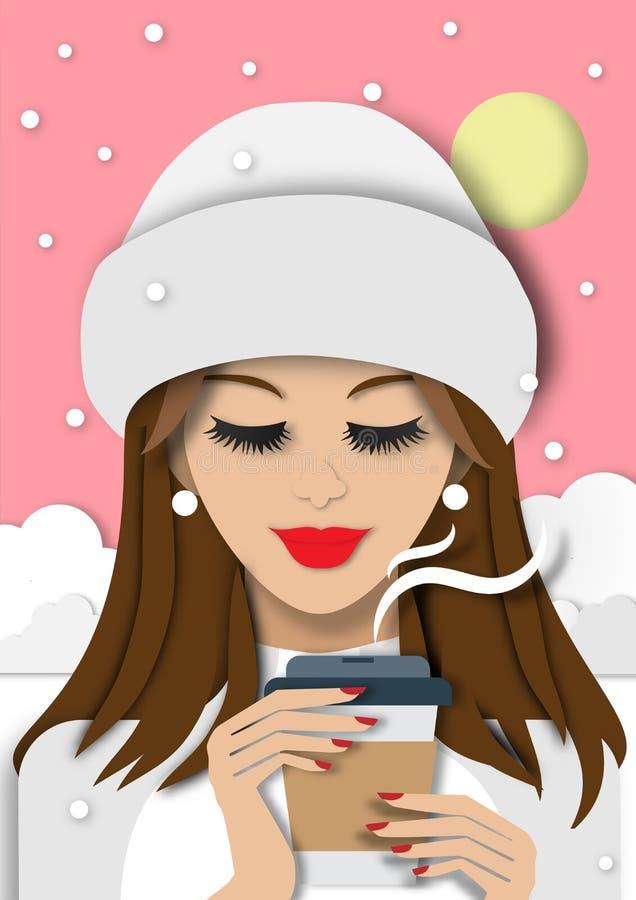 Zima sezonu tło z piękną damą pije kawę w śnieżnym sztuka projekta wektorze i ilustracji tła i papieru royalty ilustracja