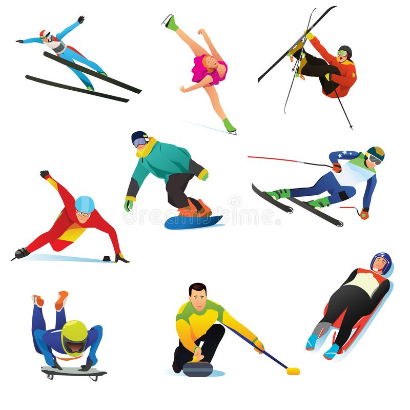 Zima sportów Cliparts ikony ilustracja wektor