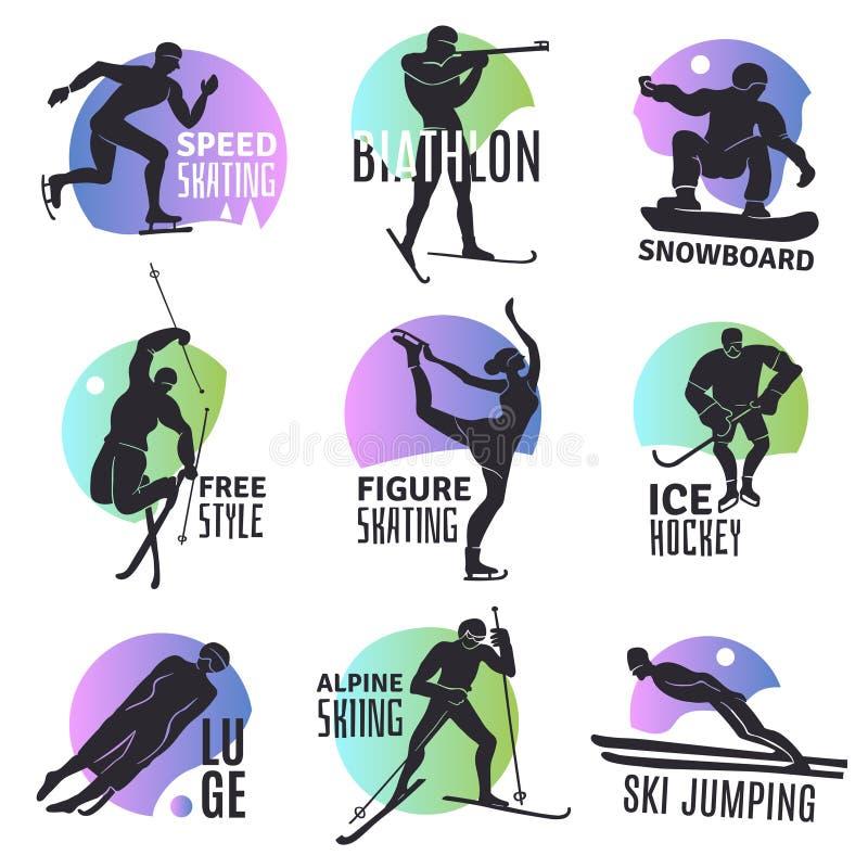 Zima sportów emblematy Ustawiający ilustracja wektor