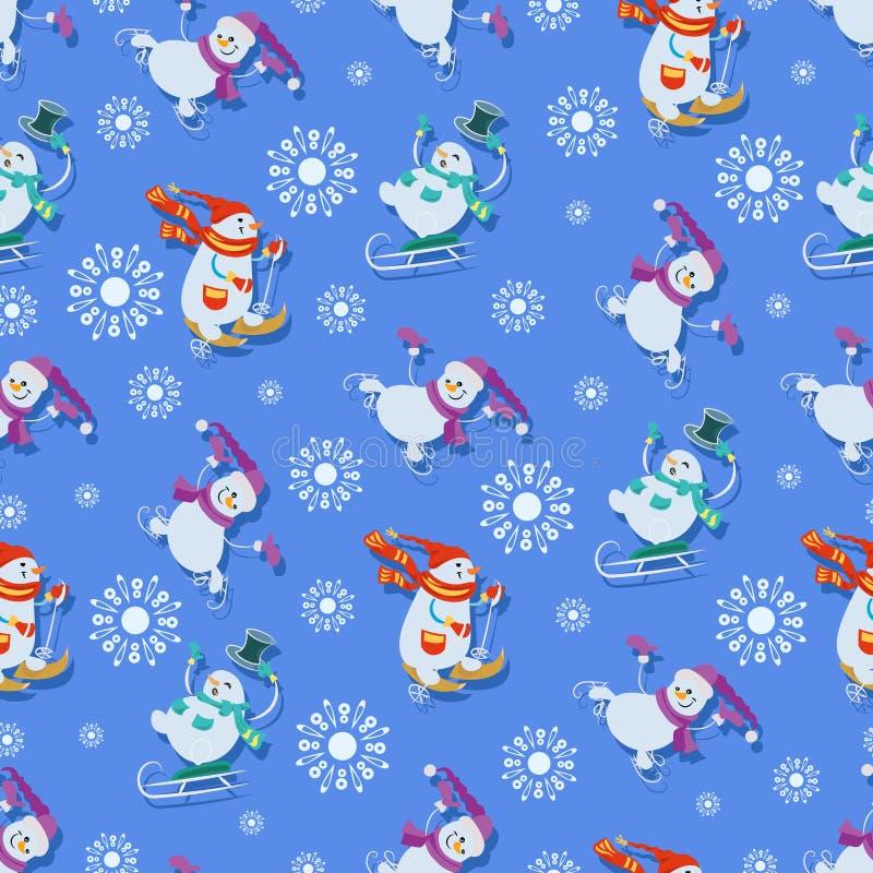 Zima sportów gry Śmieszny Snowmens royalty ilustracja