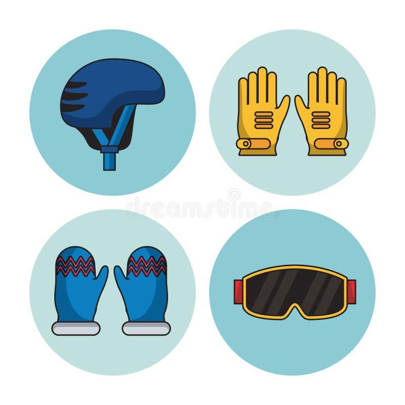 Zima sportów ikony ilustracji