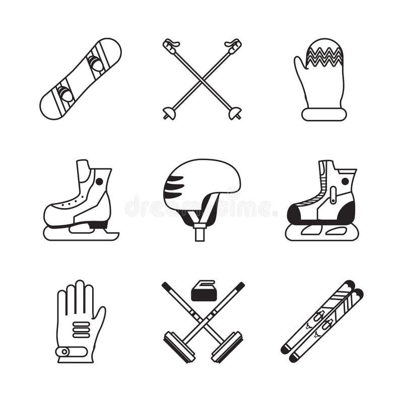 Zima sportów ikony ilustracja wektor
