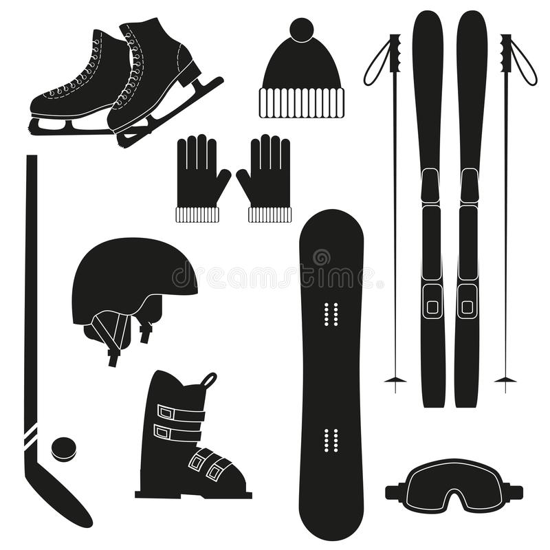 Zima sportów ikony na białym tle ilustracja wektor