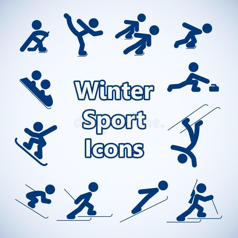 Zima sportów ikony ustawiać royalty ilustracja