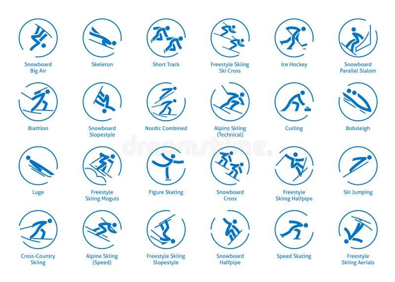 Zima sportów ikony ustawiać ilustracja wektor