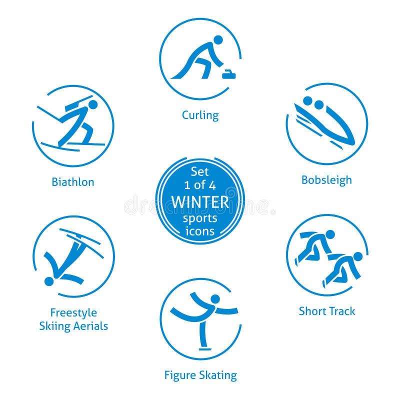Zima sportów ikony ustawiają, 1 4, wektorowi piktogramy royalty ilustracja