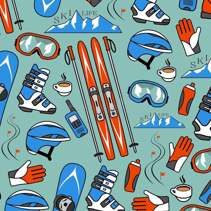 Zima sportów kolekci wzór ilustracji