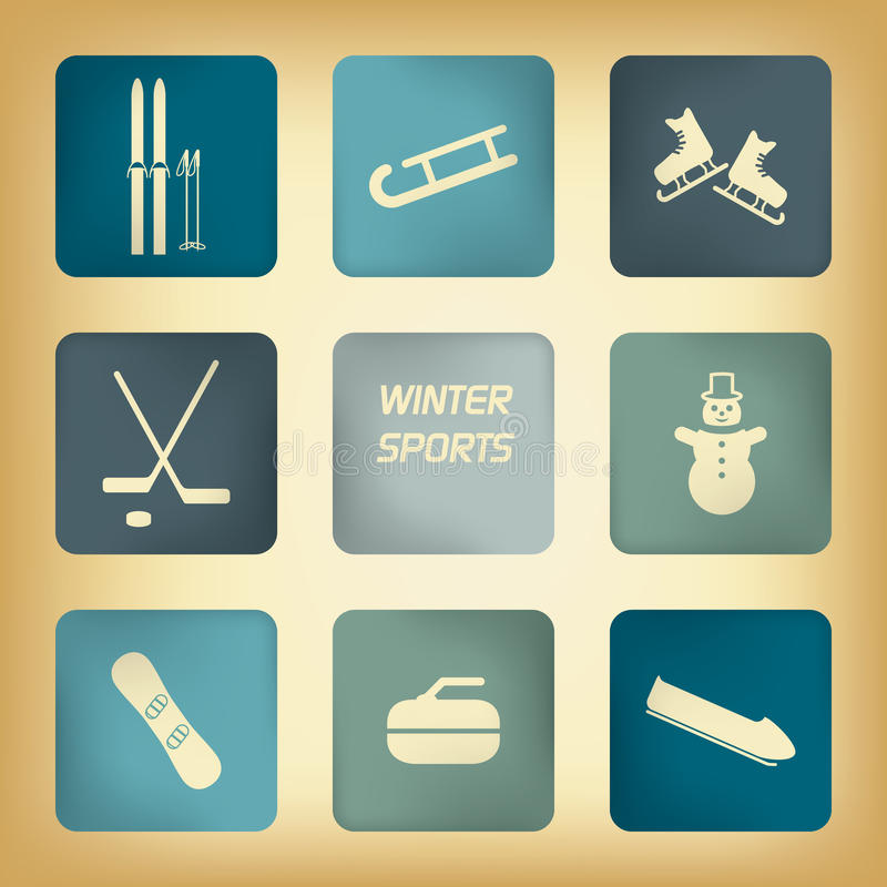 Zima sportów piktogramy royalty ilustracja