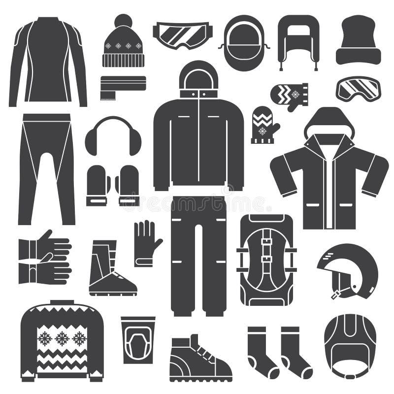 Zima sportów ubrań konturu ikony royalty ilustracja
