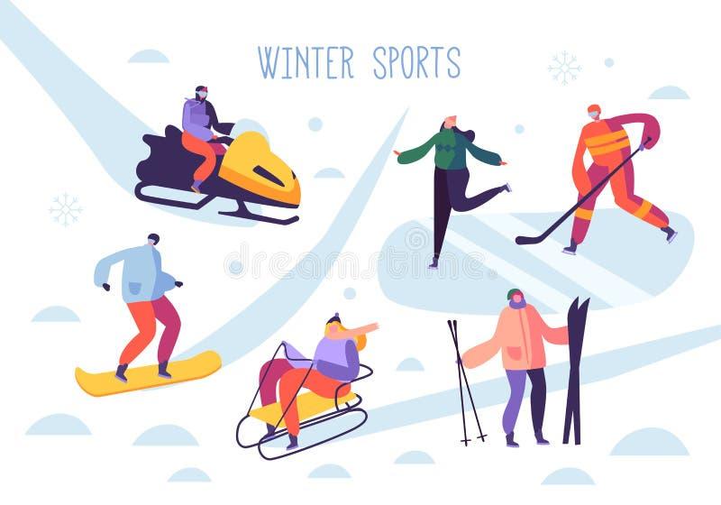 Zima sporta aktywność z charakterami Ludzie Plenerowej narciarki, Snowboarder, Lodowa łyżwiarka, hokej royalty ilustracja