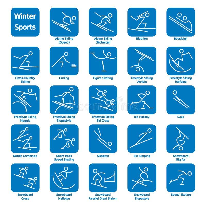 Zima sporta ikony ilustracja wektor